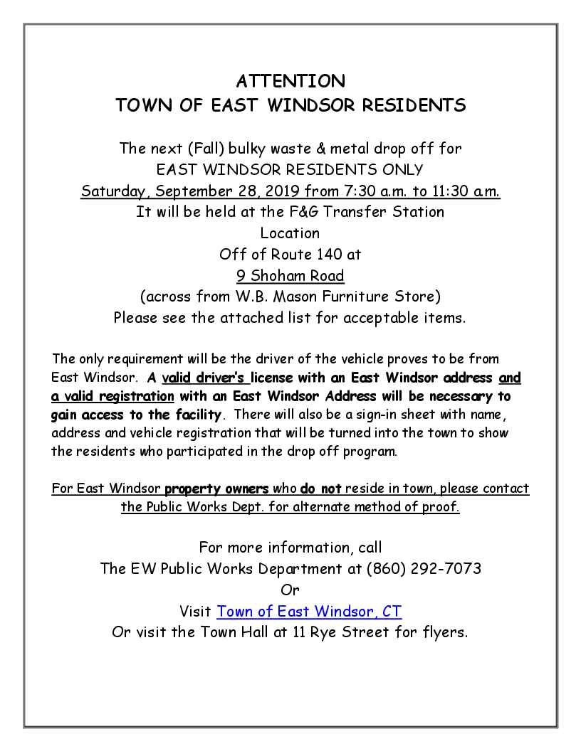 EW Residents- Bulky Waste Drop OFF! @ See Info below