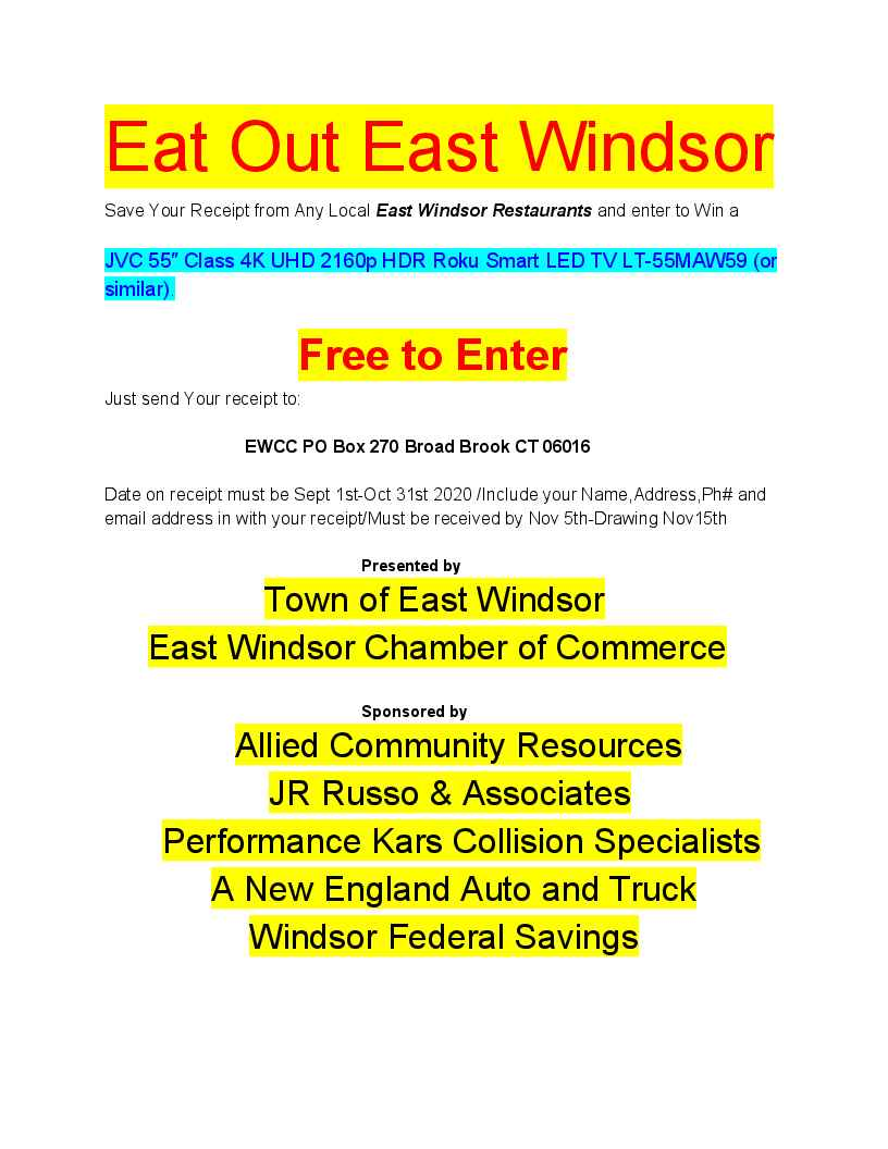 EAT OUT East Windsor! @ All Restaurants In East Windsor!