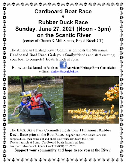 Cardboard Boat & Rubber Ducky Races @ Mill St, Broad Brook, CT 06016