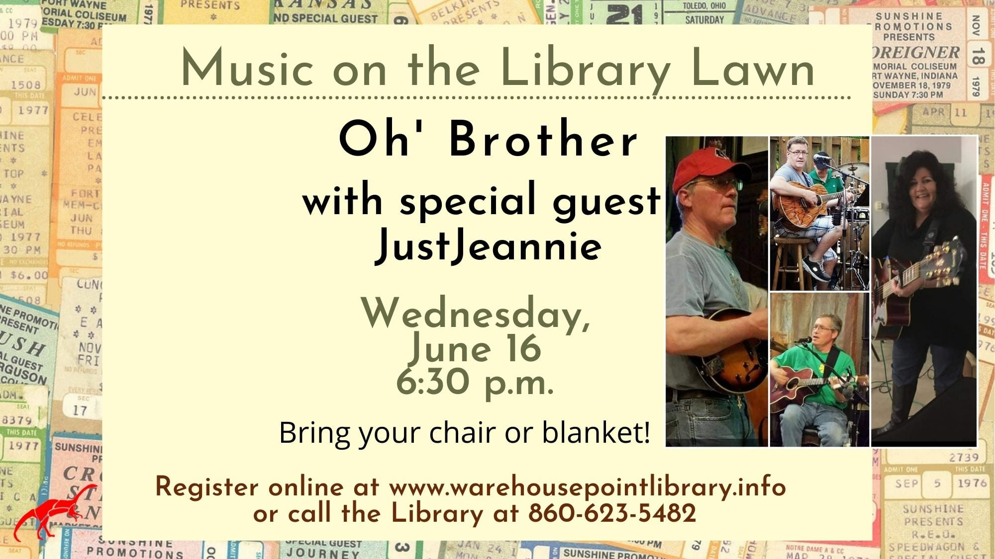 Music on the Lawn Series (OH Brother w/ Guest JustJeannie @ Warehouse Point Library
